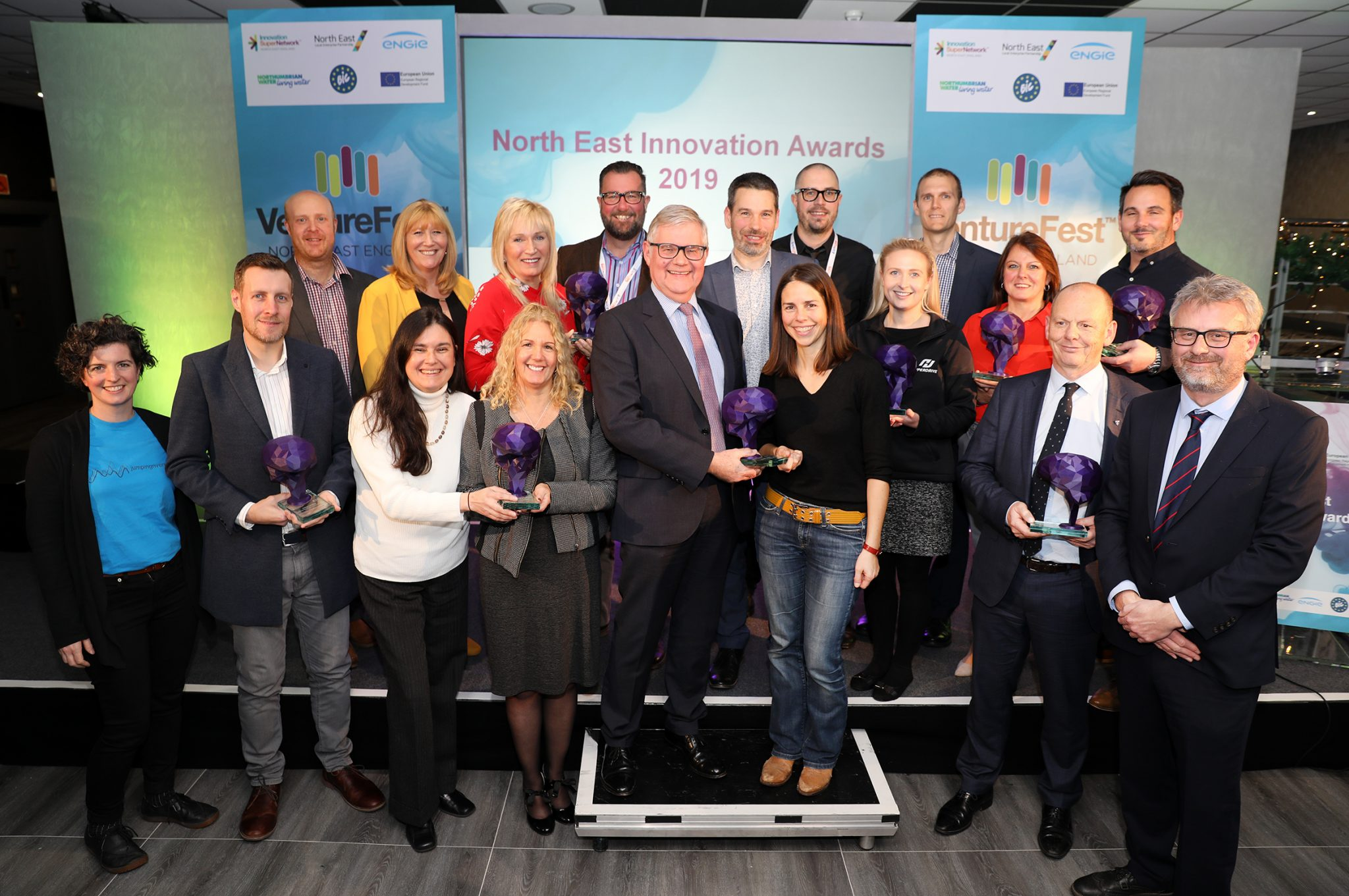 North East Innovation Award winners with Simon Green, CEO at Innovation Supernetwork and Kresse Wesling, MBE